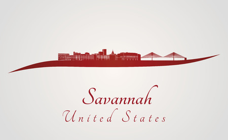 Savannah skyline in red and gray background in editable vector file