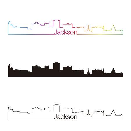 Jackson linear style skyline with rainbow in editable vector file