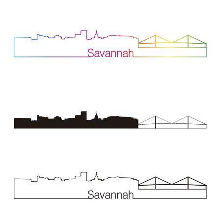 Savannah lineaire stijl skyline met regenboog in bewerkbare vector-bestand