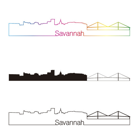 Savannah linear style skyline with rainbow in editable vector file