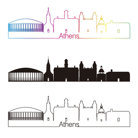 ohio: Athens linear style skyline with rainbow in editable vector file