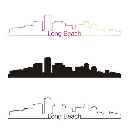編集可能なベクトル ファイルで虹線形スタイルでロング ビーチのスカイライン