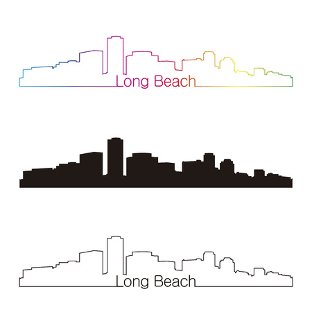 Long Beach skyline with rainbow linear style in editable vector file