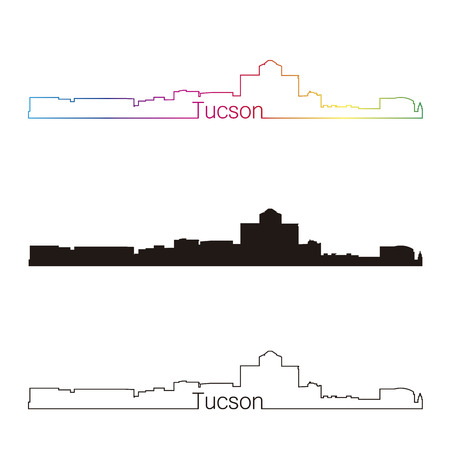 tucson: Tucson linear style skyline with rainbow in editable vector file Illustration