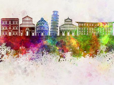 colour splash: Pisa skyline in watercolor background