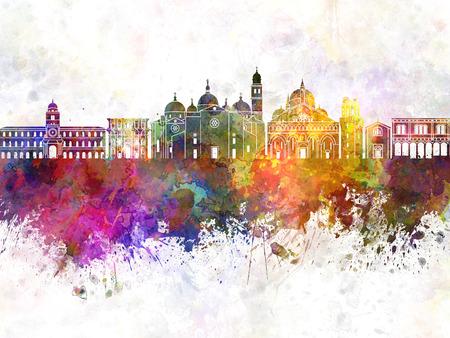 水彩画背景でパドヴァ スカイライン 写真素材