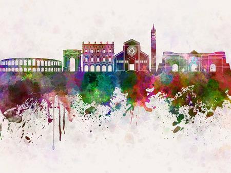 水彩画背景でヴェローナ スカイライン 写真素材