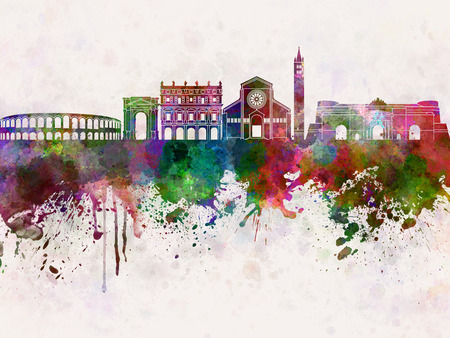 Verona skyline in watercolor background