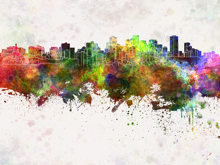 edmonton: Edmonton skyline in watercolor background