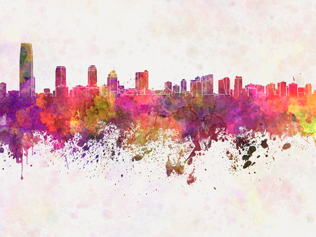 jersey: Jersey City skyline in watercolor background Stock Photo