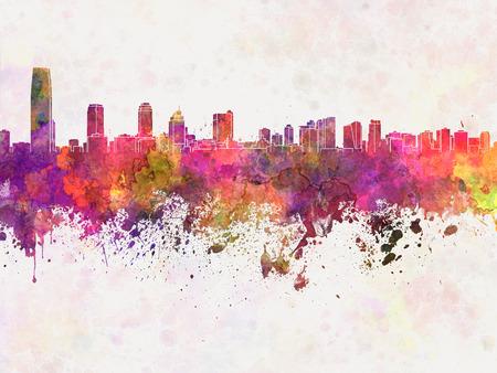 jersey city: Jersey City skyline in watercolor background Stock Photo