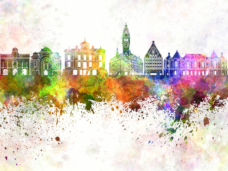 lille: Lille watercolor skyline in background Stock Photo