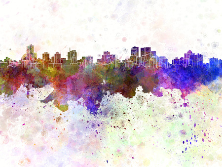 Winnipeg skyline in watercolor background
