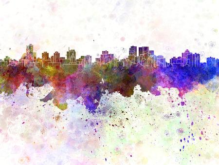 winnipeg: Winnipeg skyline in watercolor background