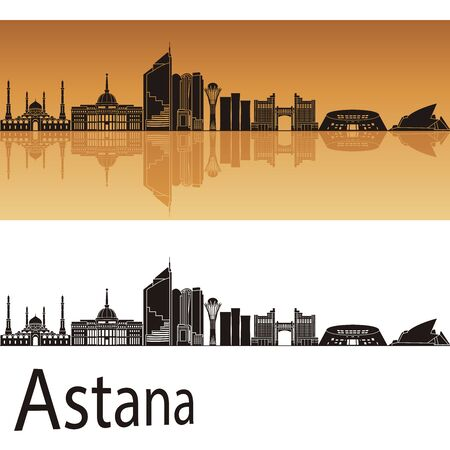 astana: Astana skyline in orange background in editable vector file