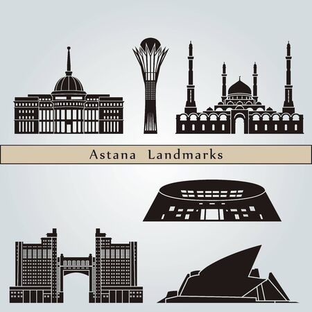 kazakhstan: Astana landmarks and monuments isolated on blue background in editable vector file