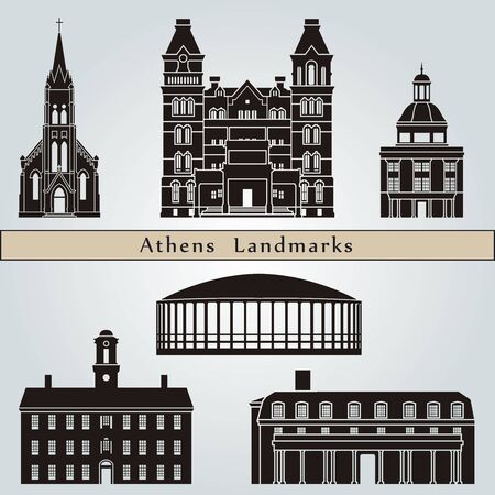 ohio: Athens landmarks and monuments isolated on blue background in editable vector file