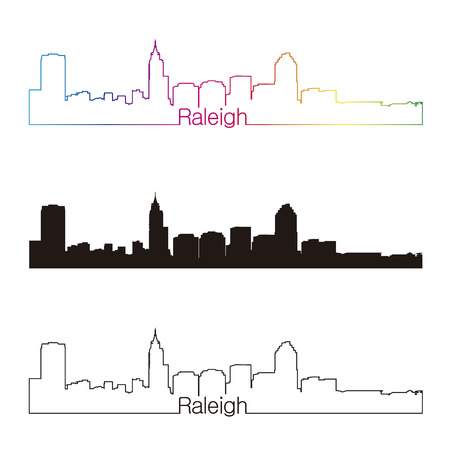 Raleigh skyline linear style with rainbow in editable vector file Ilustração