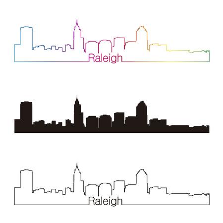 Raleigh skyline linear style with rainbow in editable vector file Illusztráció