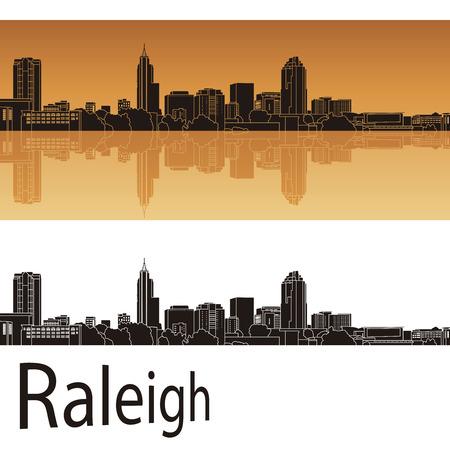 Raleigh skyline in oranje achtergrond in bewerkbare vector-bestand