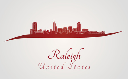 Raleigh skyline in red and gray background in editable vector file Ilustração