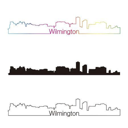 編集可能なベクトル ファイルで虹とウィルミントン スカイライン線形スタイル