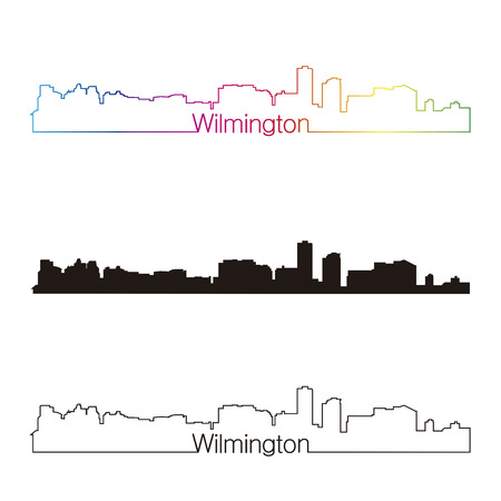 Wilmington skyline linear style with rainbow in editable vector file Ilustrace