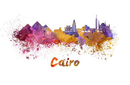 cairo: Cairo skyline in watercolor splatters with clipping path