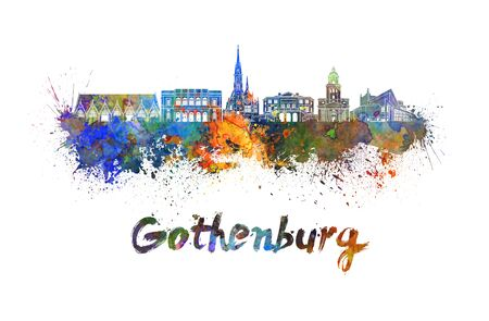 gothenburg: Gothenburg skyline in watercolor splatters with clipping path Stock Photo