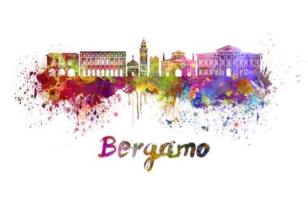 Bergamo skyline in watercolor 版權商用圖片 - 38526911
