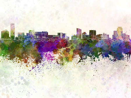 水彩画背景でグランド ラピッズ スカイライン 写真素材