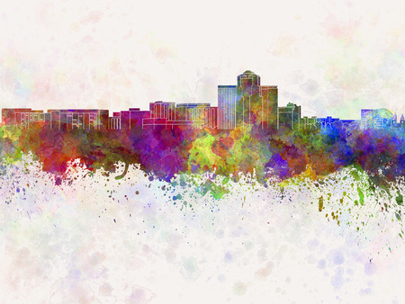 tucson: Tucson skyline in watercolor background