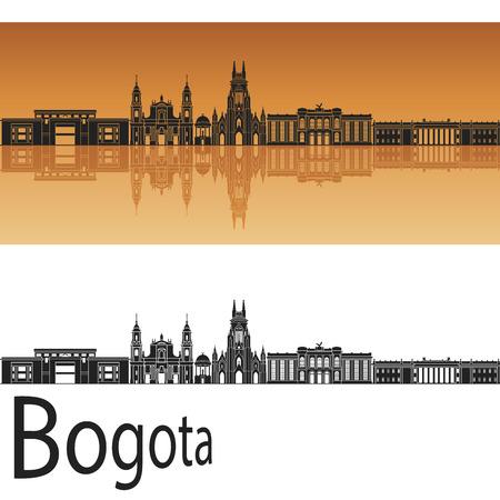 bird s house: Bogota skyline in orange background in editable vector file Illustration