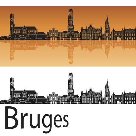 bird s house: Bruges skyline in orange background in editable vector file