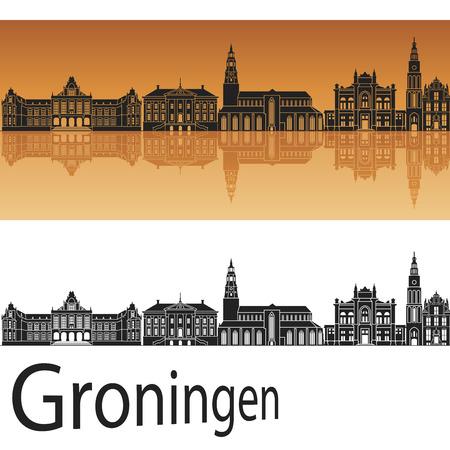 Groningen skyline in orange background in editable vector file