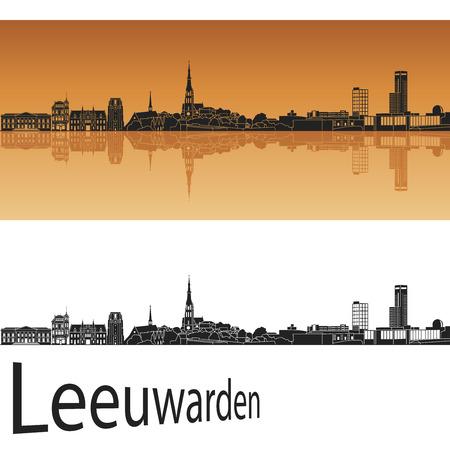 bird s house: Leeuwarden skyline in orange background in editable vector file Illustration