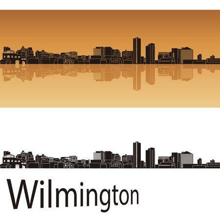 bird s house: Wilmington skyline in orange background in editable vector file