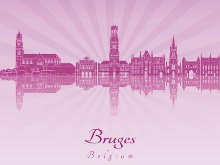 radiant: Bruges skyline radiant in purple orchid in editable vector file Illustration