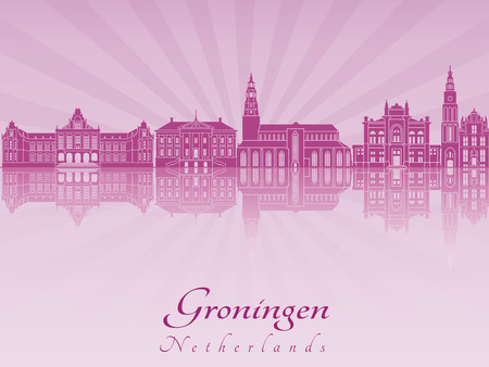 Groningen skyline radiant in purple orchid in editable vector file Illustration