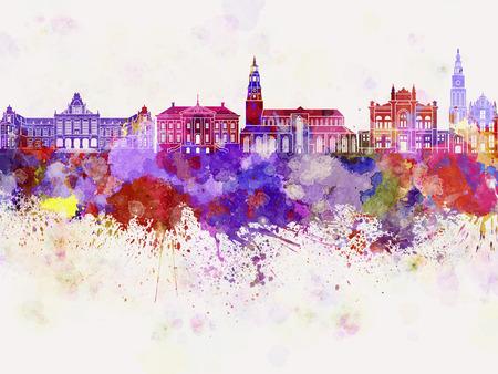 Groningen skyline in watercolor background Banco de Imagens