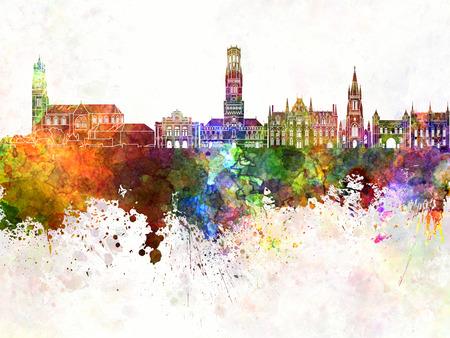 Bruges skyline in watercolor background Banco de Imagens