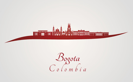 Bogota skyline in red and gray background in editable vector file