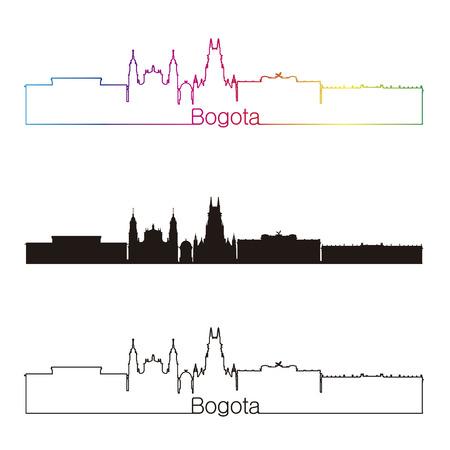 Bogota linear style skyline with rainbow in editable vector file