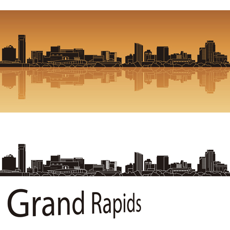grand rapids: Grand Rapids skyline in orange background in editable vector file