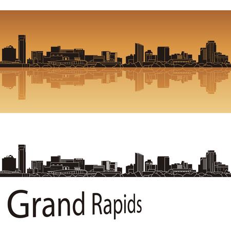 Grand Rapids skyline in orange background in editable vector file