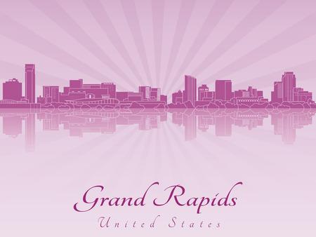 grand rapids: Grand Rapids skyline radiant in purple orchid in editable vector file