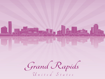 Grand Rapids skyline radiant in purple orchid in editable vector file
