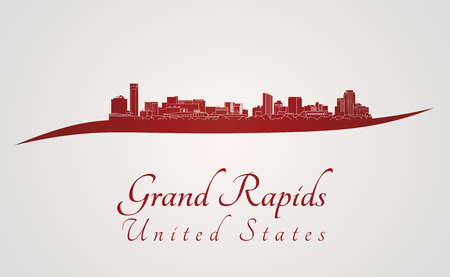 Grand Rapids skyline in red and gray background in editable vector file