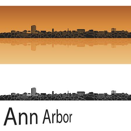 Ann Arbor skyline in orange background in editable vector file Vector
