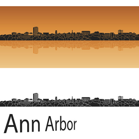 arbor: Ann Arbor skyline in orange background in editable vector file Illustration